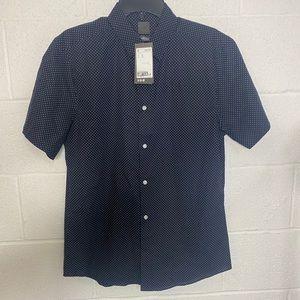 Blue white polka dot men's button up short sleeve